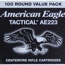 Ammo .223 Remington Federal American Eagle 55 Grain FMJ Boat Tail Bullet 3240 fps 100 Rounds AE223BL